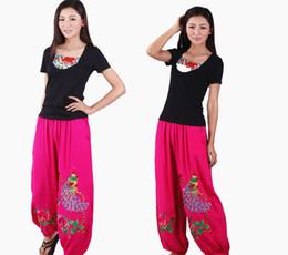 pantaloni poplini Sconti Pantaloni etnici all'ingrosso diretti della fabbrica Popeline Pantaloni di pavone di lino Pantaloni larghi cinesi tradizionali ricamati a fiori