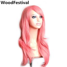 Wholesale Long Dark Red Wavy Wig - WoodFestival women wigs synthetic hair long wavy blonde pink red green brown purple black white dark blue wig 70 cm female