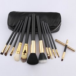 Wholesale free beauty bag - Makeup Brushes 12 Pcs set Professional Makeup Brush set Kit Pink   Black   Gold Beauty Cosmetic Makeup Brush Tool Kit With Bag +FREE GIFT