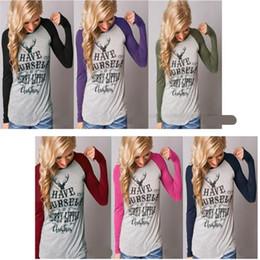 2019 magliette felici di natale Autunno e inverno maniche lunghe cuciture Merry Christmas Elk stampato T Shirt Abbigliamento moda donna alta qualità 16ol Ww magliette felici di natale economici