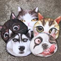 Wholesale round zipper pouch - 3D Printing Lovely Wallets Cute Cat Dog Animal Face Print Zipper Coin Purses Makeup Mini Pouch For Kids Women Carry 2 9jo Z