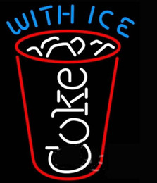Wholesale Coke Signs - WITH ICE COKE Neon Sign Real Glass Tube Bar Pub Store Business Advertising Home Decoration Gift Display Metal Frame Size 19''X15''