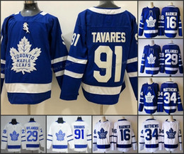 Cheap 91 John Tavares Toronto Maple Leafs Hockey Jersey Men 2018 New 16  Mitch Marner 34 Auston Matthews Blue White Jerseys stitched d4e55e76d