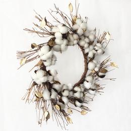 Canada Blanc décoratif séché branche de coton fleur de coton artificielle guirlande avec base de brindille pour ferme décoration de Noël Drop Shipping Offre