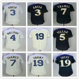 Wholesale milwaukee blue - 2017 Milwaukee Jersey 3 Orlando Arcia 5 Jonathan Villar 4 PAUL MOLITOR 7 Eric Thames 19 Robin Yount Men Baseball Jerseys