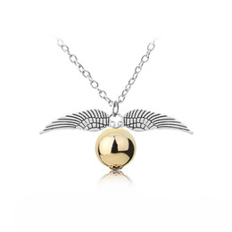 Wholesale wing necklace men - women and men 2018 Fashion retro Deathly Hallows Necklace Gold Snitch Exquisite Ball Wings Feather Necklaces & Pendants Choker For Movie Gif