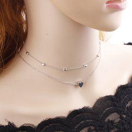 Wholesale Double Chain Necklace Gold - Silver Gold Color Jewelry Love Heart Necklaces Pendants Double Chain Choker Necklace Collar Women Statement Jewelry Bijoux drop ship 162511