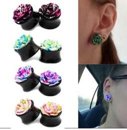 1 paire vintage rose fleur acrylique oreille bouchons Double selle oreille tunnels Expander Piercing bijoux de corps pour femmes Femme Bijoux ? partir de fabricateur