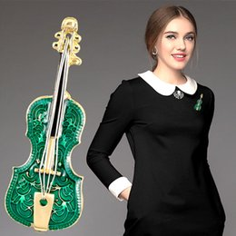 Wholesale music brooches - Fashion personality brooch violin musical Instruments pins alloy oil drip corsage party music festival collocation accessories brooches