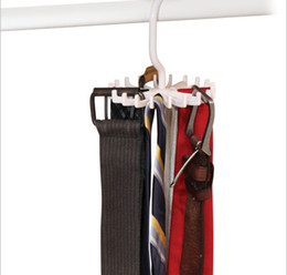 Wholesale Folding Closet Organizer - 1300pcs Tie Rack Belt Holders Tie Racks Organizer Hanger Closet 20 Hooks Rotating Men Neck Ties Housekeeping Organization Hangers Racks
