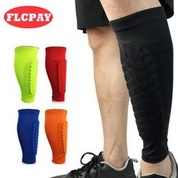 Wholesale calf shin support - 1 Pcs Honeycomb Anti-collision Football Shin Guard Kneepads Calf Support Compression Muscle Socks Running Leg Sleeve Cycling Leg Warmers