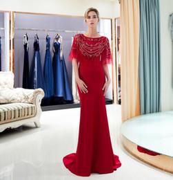 robe de soirée en mousseline Promotion 2018 châle style cristal rouge longues robes de bal scoop décolleté robe de bal en mousseline de soie personnalisé sans manches partie robe de soirée 63689