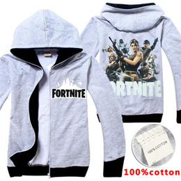 Wholesale kids character sweatshirts - Fortnite Hoodies Sweatshirts 6-14 years old Kids 100% Cotton Jackets Clothing Casual Zipper Hooded Coats kids clothes LA808