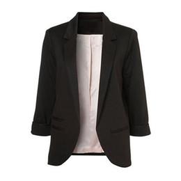 Blazers de gran tamaño online-2018 Otoño Mujer Blazers y Chaquetas Candy Color Chaqueta Slim Suit One Buon Mujeres Chaqueta grande Tamaño S-2XL Blazer feminino