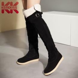2019 fivelas planas sobre joelho botas Kemekiss inverno mulheres flats botas de pele quente moda fivela sobre o joelho botas de lazer diário rodada mulheres sapatos tamanho 33-42 fivelas planas sobre joelho botas barato