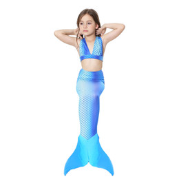 Wholesale 4t Girls Swimsuit - Mermaid Swimsuit for Baby Girl Mermaid Tail Bikini Suit Swimwear INS Hot Selling Swim Swimming Bathing Suit Not include Web-footed