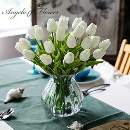 Wholesale Orange Artificial Tulips - Free shipping 31PCS LOT pu mini tulip flower real touch wedding flower bouquet artificial silk flowers for home party decoration