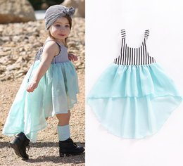 Wholesale Elegant Baby Girls Dress - Baby Girls Dovetails Skirt Black White Vertical Striped Bow Wathet Blue Elegant Chiffon Vest Beach Party Dress Princess Infant Outfits 1-4T