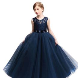 Vestidos de niña de flores con cuello de bola de tul joya cuello con vestido de niñas hasta el suelo 2019 para la boda desde fabricantes