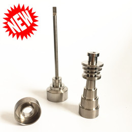 Wholesale Universal Machining - Universal Titanium nail 6 in 1 Heater Flat Coil 10mm Domeless Titanium Nails 10 14 18mm Female And Male with Titanium Carb Cap New Set Stock