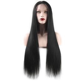 kagamin kostüm Rabatt freies Verschiffen lange gerade Spitze-Perücken Remy-koreanische silk Spitzefrontseite synthetische Perücken-Haar-Perücken für schwarze Frauen Pre gerupfte mit dem Baby-Haar und Ba