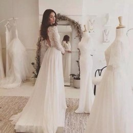 Wholesale Pink Long Skirt Chiffon - Summer Beach Wedding Dresses 2018 Sexy Open Back Vintage Lace Long Sleeves Sweep Train Chiffon Country Bridal Gowns Deep V Neck Custom Cheap