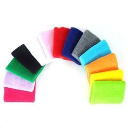 Suor de algodão on-line-8 * 10 cm Ginásio Pulseiras de Pulso Suporte para o Tênis Esporte Protetor Do Túnel do Carpo Wrist Brace Sweatbands 100% Algodão Tamanho Livre