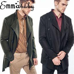 Прохладный ремни мальчиков онлайн-Popular Solid Button Pockets Belt Thick Boy Causal Cool Hot Mens Winter Trench Coat Double Breasted Stylish Long Jacke Overcoat