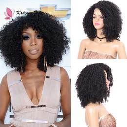 Pelucas de mirada rizada online-12 pulgadas sintético Afro Kinky Curly BOB peluca delantera del cordón natural look jerry rizado peluca del cordón para las mujeres negras fibra de alta temperatura Reino Unido