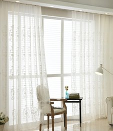Wholesale White Window Panels - Tulle curtains luxury embroidered white window sheer voile living room window treatment transparent door Sheer curtains panel