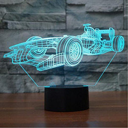 F1 Racing Shapes 3D Night Light Touch Table Desk Illusion Optical Lamps 7 Cambia colore Lights Home Decoration Natale regalo di compleanno da