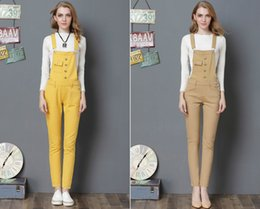 Wholesale High Jeans Girls - S-4XL Big size Girl jumpsuits jeans Straps European style casual small Straight pants Denim Overalls With Belt Regular pant