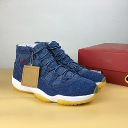 Wholesale Fabric Carbon - 2018 With Box+Carbon Fiber Casual 11 Denim NRG x Blue Jeans XI 914433 Basketball Shoes for Men's 11s Flight Sports Sneakers Size 40-47.5