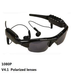 Tarjetas de video de música online-SM07B 1080P Cámara de video Bluetooth Lentes polarizadas Gafas Soporte DV MP3 Música Llamadas telefónicas Tarjetas TF Grabador de gafas móviles Gafas de sol 1pc