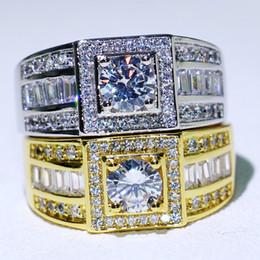 topaz gemstone men rings Australia - New Arrival Original Desgin Hot Sale Luxury Jewelry 10KT White&Gold Filled Round Cut White Topaz CZ Diamond Gemstones Men Ring Gift box