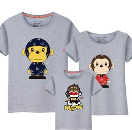Wholesale monkey prints - Family T-shirt Monkey Men Women Kids Summer Casual Tee Family Clothing 13 Colors