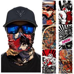 2019 японские наголовники 3D бесшовные лицо щит Япония стили Велоспорт бандана оголовье на открытом воздухе головные уборы Ямато японский маска для лица женщины цветок банданы дешево японские наголовники