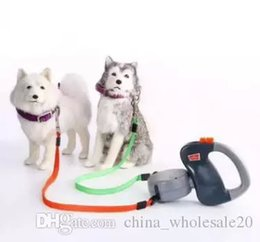 Wholesale training pads dogs - Free Shipping Pet Supplies Automatic Retractable Walking Leash for Two Dogs Rope Training Walking Two Dogs AJI-527