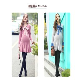 Wholesale Xl Maternity Sweater - 2018 New Spring   Autumn maternity dress the new bow tie sweater dress loose flounce grey pink sweater bottom skirt free shipping