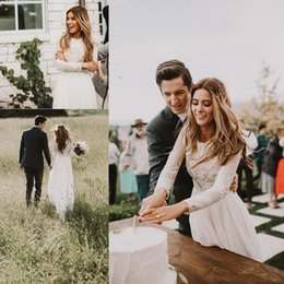 Wholesale secrets lace - 2018 Elegant Vintage Secret Country Style Lace Wedding Dresses with Long Sleeves Back Zipper Modest Sweep Train Bridal Gowns