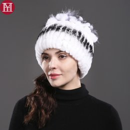 1ea4568d3f6 2017 new good quality elastic knitted rex rabbit fur beanies women real rex rabbit  fur hat 100% real natural cap dark green fur hat for sale