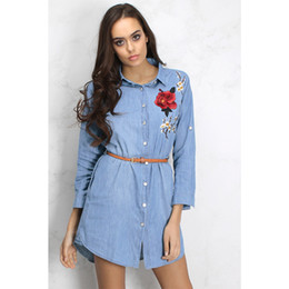 belted peplum shirts Promo Codes - Women Denim Blue Shirt Dresses Rose Embroidery Design Casual Dress Single Breasted Turn-down Collar With Belt