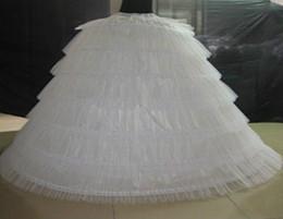 Vestidos de noiva brancos inchados on-line-Brand New Big Anáguas Branco Super Puffy vestido de Baile Underskirt 6 Aros Longa Crinolina Deslizamento Para O Casamento Adulto / Vestido Formal