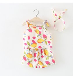 Wholesale Cheap Girls Outfits - Cheap Girls Outfits Braces+Pants Suits 2018 Summer Kids Boutique Clothing Korean 2-7Y Girls Braces Shorts 3 PC Set with Headband