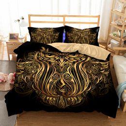 Cama de la reina del búho online-Art Owl Pattern Juegos de cama impresos Todos los tamaños Funda de almohada Funda de edredón Funda nórdica Sin relleno
