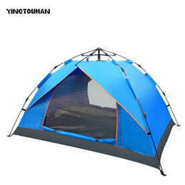 Wholesale Big Tents Camping - YINGTOUMAN Outdoor 3-4 Person Famliy Big Tent Camping Hiking Tent Camping Accessories Quick Automatic Opening