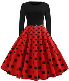 Yeni Retro Siyah Kırmızı Koyu Donanma Puanl Kadın Günlük Elbiseler Büyük Salıncak Sonbahar Bahar Uzun Kollu Elbise ile Vintage Kemer Vestido FS6137 nereden