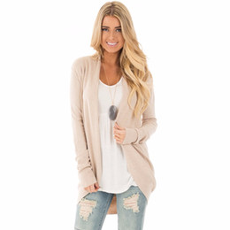 Wholesale Cardigan Sweater Brown - Wholesale-2017 Knitted Cardigan Women Sweater Autumn Solid Long Sleeve Cardigans Knitting Sweaters Beige Pink Green cashmere sweater