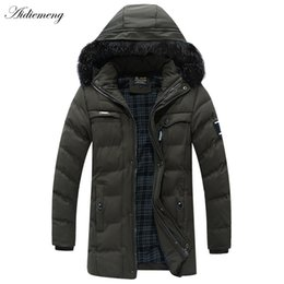 Wholesale Windbreaker Button Down - Winter Jacket Men Trench Coat Thicken Down Casual Army Parkas Cotton hooded Bomber Jacket Men Windbreaker Manteau Homme Outwear