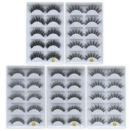 Cils de vison 3D cils d'oeil 5 paires / boîte extensions de cils croisés à la main maquillage nature longs et épais faux cils pleine bande faux cils ? partir de fabricateur